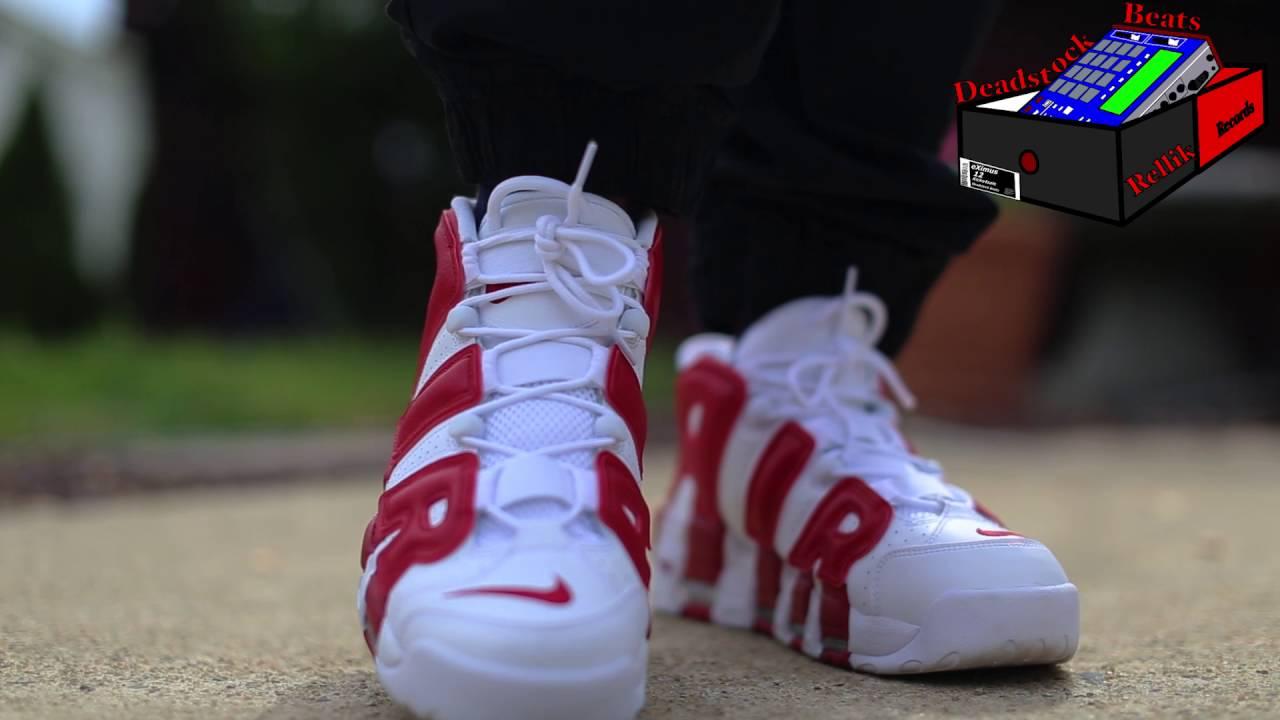 1e9fe06a73 Nike Air More Uptempo White Red Bulls On Feet - YouTube