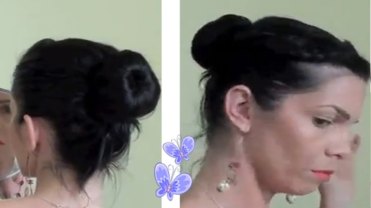 Tuto coiffure facile: chignon chaussette - YouTube