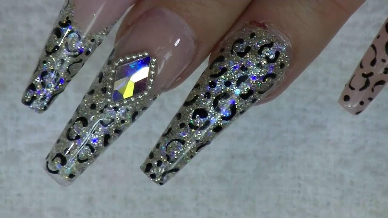 Mezcla Brillosa Animal Print Uñas Acrílicas Luliz Nails
