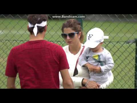 Roger Federer's twin sons and daughters at Wimbledon 2016