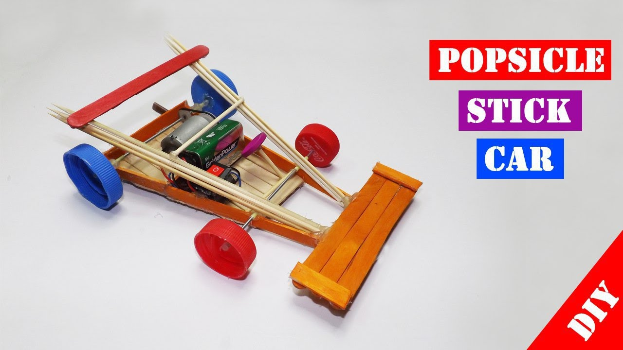 Popsicle Stick RC Car Toy for kids Easy Crafts Ideas