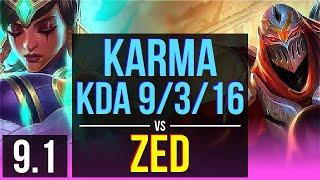 KARMA vs ZED (MID)   KDA 9/3/16, Dominating   TR Challenger   v9.1