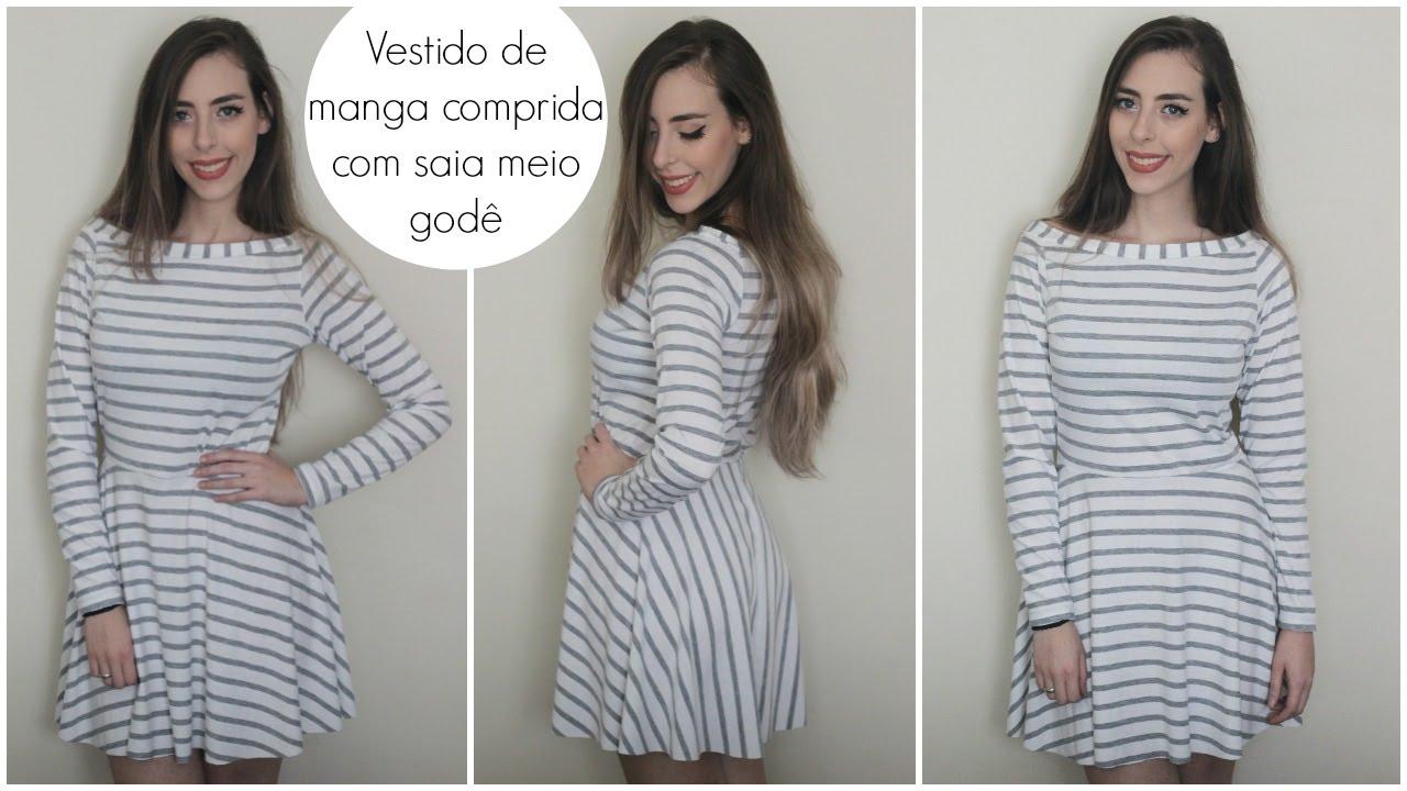 Como cortar um vestido manga longa