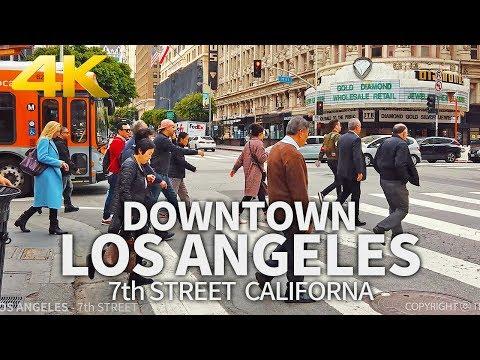 LOS ANGELES - Street Walk In Downtown Los Angeles, 7th Street, California, USA, Travel, 4K UHD