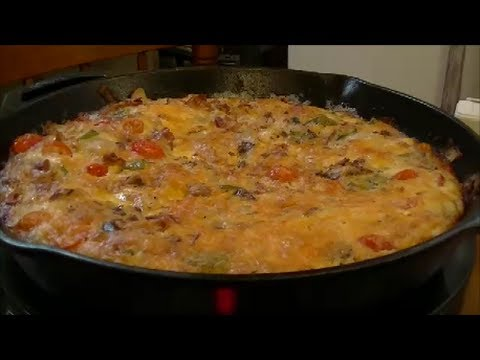 A Delicious Frittata Using Bacon Fried Potatoes Tomatoes Onions Peppers Eggs And Cheese Youtube