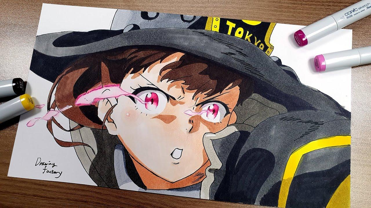 Drawing Maki Oze - Fire Force with copic marker anime   炎炎ノ消防隊 茉希尾瀬   불꽃소방대 마키 오제 손그림 그리기