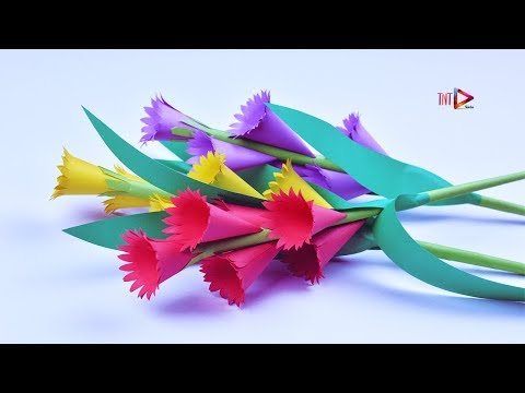 How to Make Stick Flowers Easy | Handicraft Beautiful Flower | DIY Paper Crafts