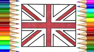 United Kingdom Flag Coloring book | How to draw United Kingdom Flag for kids | Kids Drawing CP-4K