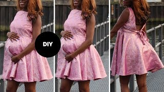 How To Make Skater Dress With Deep V At The Back I Easy Sewing I Ovoke