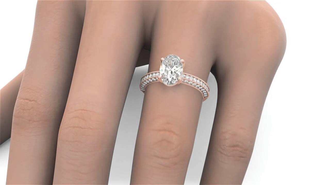 240 Tcw Oval Cut Round Pave Engagement Ring Solitaire Solid 14k Rose Gold