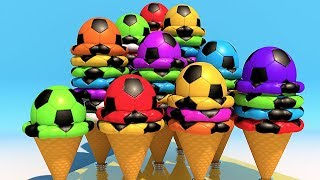 Learning Numbers with Soccer balls Ice Cream for Children
