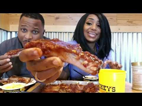 Dickey's Barbecue Mukbang, BBQ Ribs, Mac and Cheese, Baked beans and Green beans