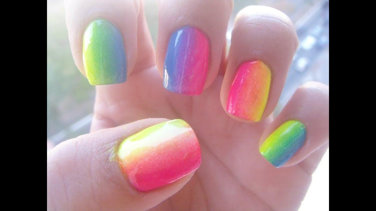 Arcoiris en tus uñas, ombre. - YouTube