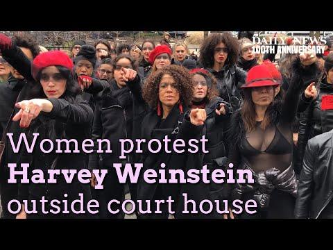 Women sing chant to protest Harvey Weinstein