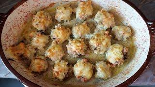 Закуска фаршированные шампиньоны с ветчиной и сыром/appetizer of mushrooms