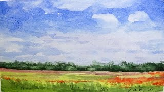 Poppy Field Watercolour Painting - By Vamos - Slow Life Art