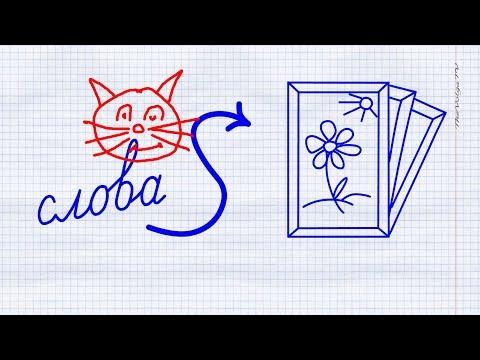 Русский алфавит! Превращение слова в картинку. КОТ. Russian Handwriting Wordtoons! CAT