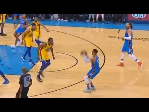Russell Westbrook Shows Kevin Durant How To Shoot A Pull Up 3 Pointer! Warriors vs Thunder