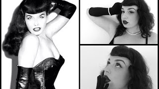 Bettie Page Pinup hair and makeup tutorial how to create faux Bettie Bangs