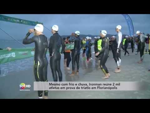 Mesmo com frio e chuva, Ironman reúne 2 mil atletas em prova de triatlo em Florianópolis