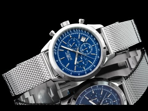 Invicta 24209 45mm Speedway Blue Dial Chronograph Stainless Steel Mesh Bracelet Watch