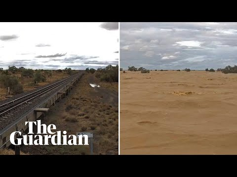 Timelapse shows train line engulfed by rising flood waters