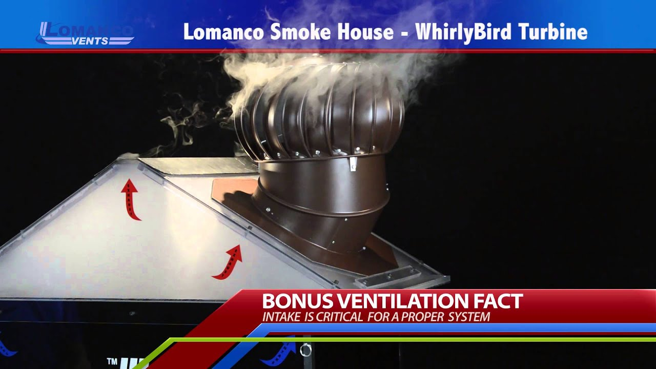 Lomanco® Whirlybird® Turbine Smoke House Demo   YouTube