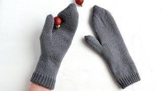 Двойные варежки с индийским клином. Вязание спицами. Double mittens. Knitting
