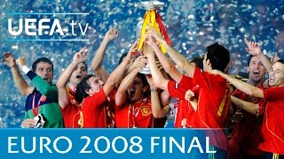 Spain v Germany: UEFA EURO 2008 final highlights(See how Spain narrowly beat Germany in Vienna to claim their first major title in 44 years. http://www.youtube.com/subscription_center?add_user=uefa ..., 2016-03-16T09:42:58.000Z)
