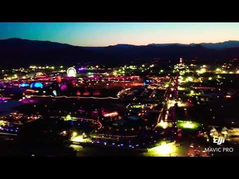 Drone view of Coachella Valley Music & Arts Festival in Indio, CA