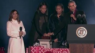 President Obama lights national Christmas tree