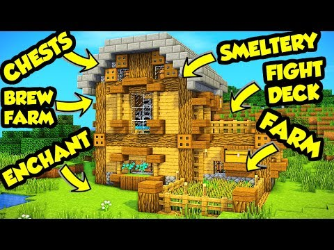 Minecraft All in One Survival House Tutorial (How to Build Design Ideas Tour) thumbnail