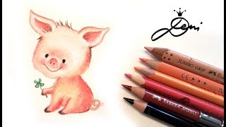 Ferkel zeichnen 🐷🍀Glücksschwein malen 🐷How to Draw a Cute Pig 🐽 Kак се рисува прасенце