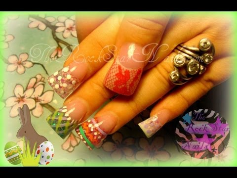 easter nails- acrylic nails tutorial - YouTube