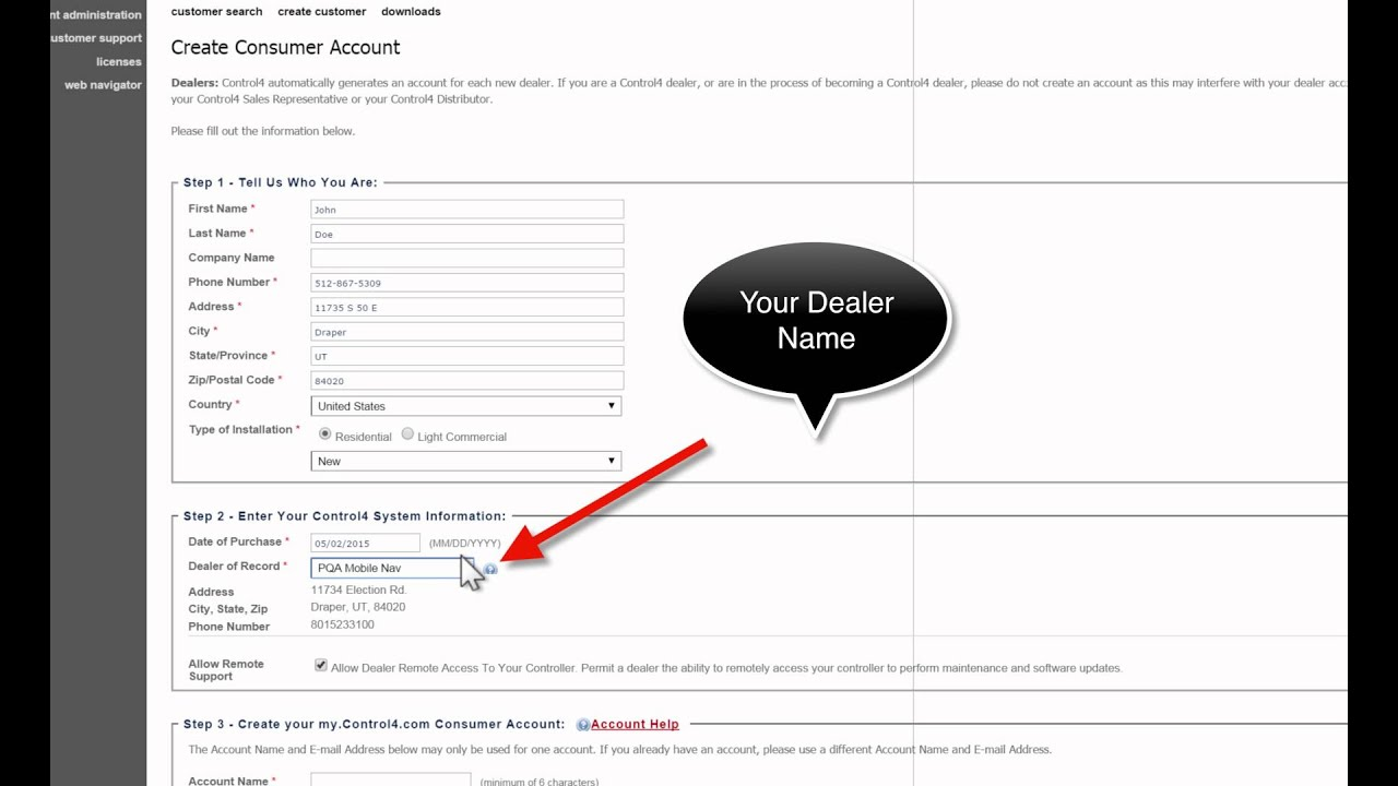 Customer account create/ - How To Create New Customer Account On Control4
