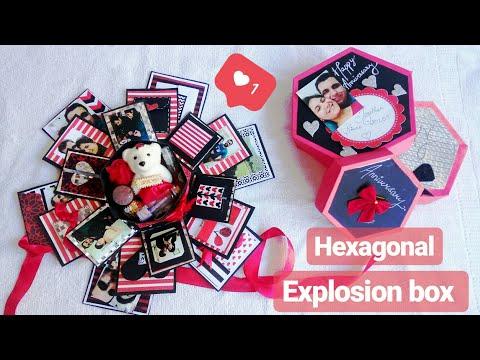 HEXAGONAL EXPLOSION BOX   HANDMADE GIFTS FOR BIRTHDAY/ANNIVERSARY