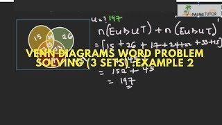 Venn diagram word problem solving( three sets): Example 2
