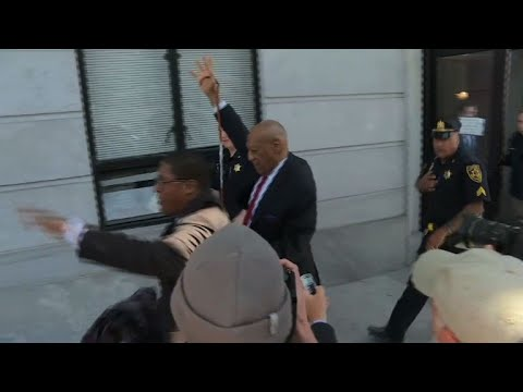 Bill Cosby leaves court after being found guilty