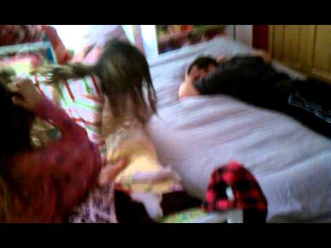 Dad Launches Daughter off Bed: ORIGINAL (Ally's Close Call) 2/26/11