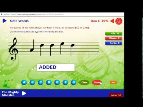 3.6 Note Words - Treble Clef / G Clef - The Mighty Maestro Help Vids