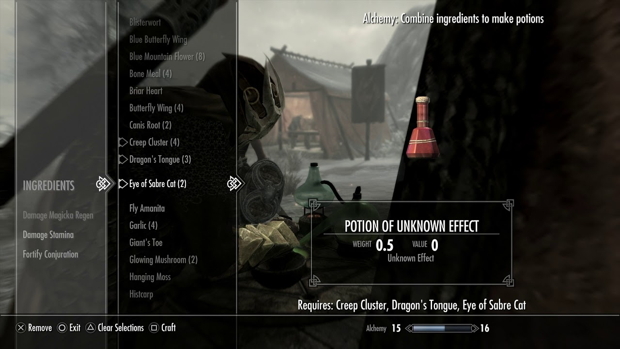 Skyrim Special Edition - Alchemy Lab Introduction Tutorial: Create Various  Potions Gameplay PS4 Pro