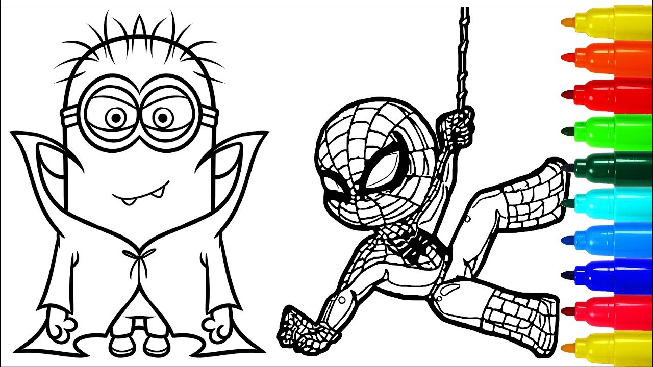 Spiderman Babes Minions Vampires Coloring Pages Colouring Pages
