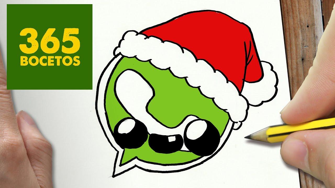 como dibujar un logo whatsapp para navidad paso a paso
