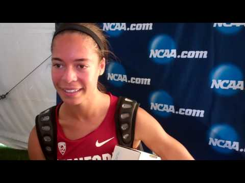Claudia Saunders talks after breaking Stanford women's 800 record