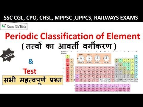 Science Gk : Periodic Classification of Element | आवर्त सारणी