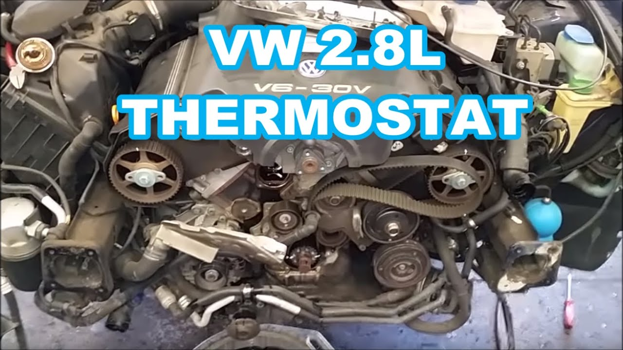 thermostat replacement on a 2000 vw passat 2 8l is a pain screw you vw lol not a how to  [ 1280 x 720 Pixel ]