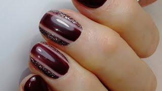 Дизайн с НЕГАТИВНЫМ ПРОСТРАНСТВОМ сливово баклажановый маникюр стильный дизайн ногтей блестки HNM