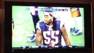 Brandon Spikes flexes after injuring Fred Jackson
