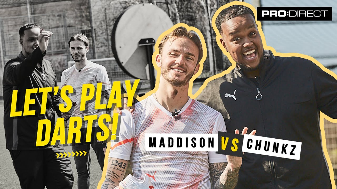 MADDERS THROWS A MADNESS - Chunkz vs James Maddison Let's Play Darts!