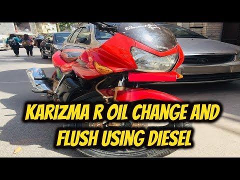 Karizma R oil flush and change using diesel